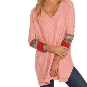 Free People Coral Oversized Thermal Top With Cuffs